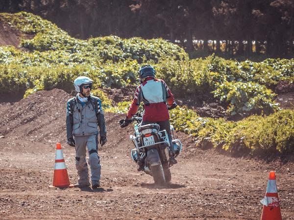 Practice off road adventure motorbike touring