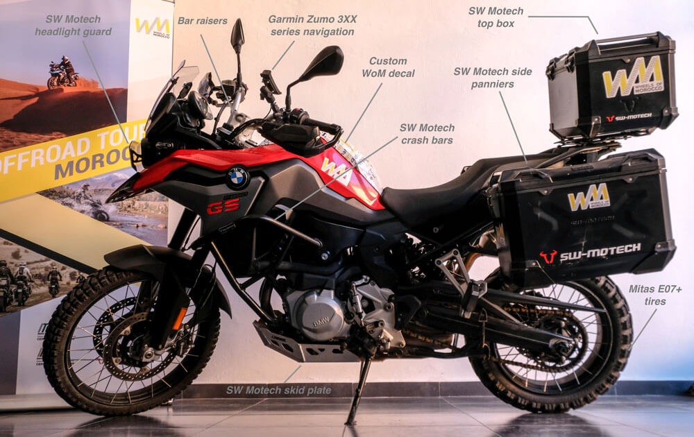 rent BMW F850GS motorbike for your adventure motorcycle tours from wheels of Morocco